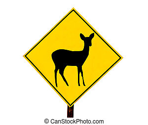 The Signpost of deer isolated on white background