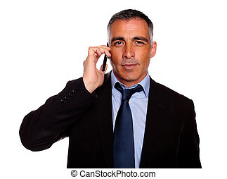 Senior businessman on cellphone - Portrait of a senior...