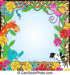 Jungle Zoo Party Invitation - Bright and colorful jungle...