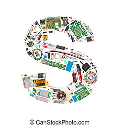 electronic components letter - Letter 'S' made of electronic...