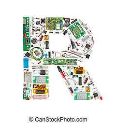 electronic components letter - Letter 'R' made of electronic...