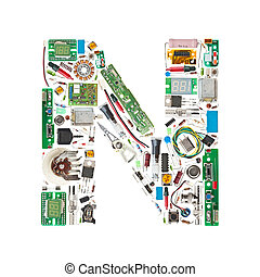 electronic components letter - Letter N made of electronic...