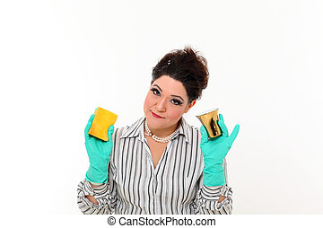 Woman in carrier cleaning a mug