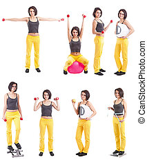 Fitness collection of a young woman in different position