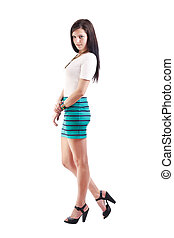 young lady in short skirt - Full length of a beautiful young...