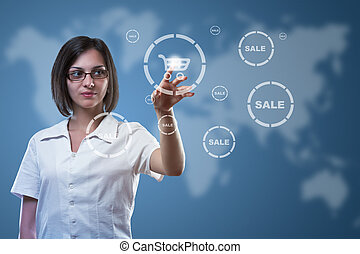 Businesswoman pressing cart button, symbol of modern online...