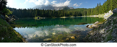 Carezza Lake Karersee in the Italian Dolomites - Reflection...