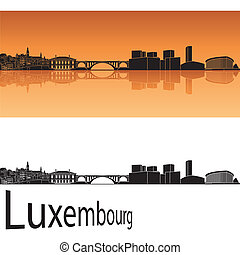 Luxembourg skyline in orange background in editable vector...