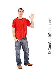 Man saying Hi - Young man greeting and saying Hi, isolated...