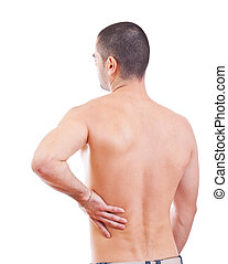back pain - Young man with back pain, isolated in white...