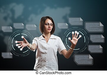 Woman touching fingerprint scanner on virtual interface