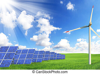 Solar panels and windmill