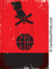 Hand controls the globe - Red and black poster with hand and...