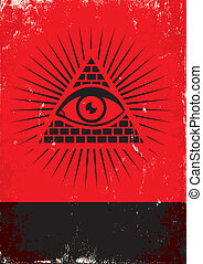 pyramid and the eye - Red and black poster with pyramid and...