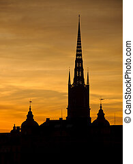 Stockholm cityscape at sunset - View of Stockholm old town...