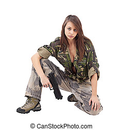 Warrior Woman in military camo, isolated on white