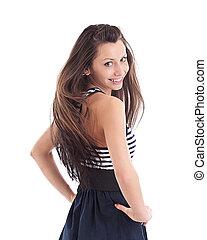 Woman in short dress - Beautiful young woman in short dress...