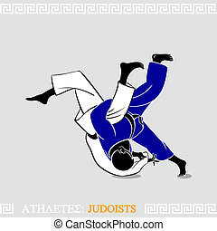 Athlete Judoists - Greek art stylized judoists at the...