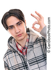 All right!  - Teen shows finger gesture OK