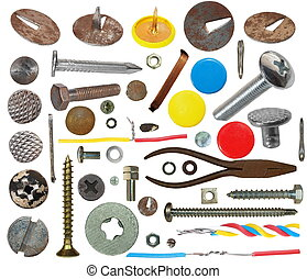 collection screw heads, push pins, bolts, pincers, wire,...