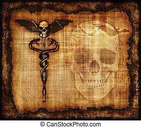 Skulls, Sankes and Bat Parchment - An aged grunge parchment...