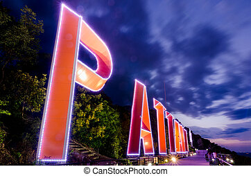 PATTAYA city Lighting sign and Purple sky
