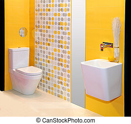 Yellow bathroom - Modern minimalistic bathroom interior with...