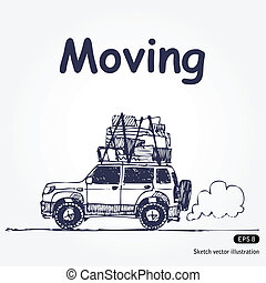 Moving - Hand drawn illustration with laden car isolated on...