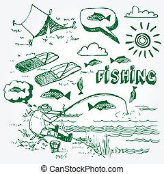 Fishing icons set - Hand drawn fishing illustration isolated...