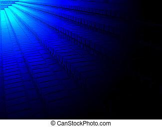 青, 多様性, ライト, 上に, 線, 建設, 詳細, れんが, 抽象的, 積み重ね
