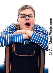 Tired traveller woman yawning - Tired traveller tourist...