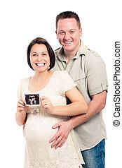 Feliz, grávida, par, ultrasom, quadro