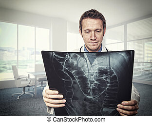 doctor on duty - portrait of doctor and xray