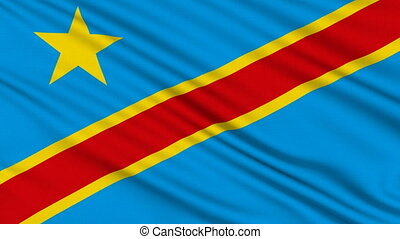 Congo Flag - Congo Flag, with real structure of a fabric