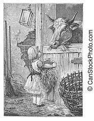 Little girls feed a cow - RUSSIA - CIRCA 1902: Illustration...