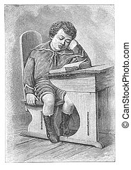 Little boy read the book - RUSSIA - CIRCA 1902: Illustration...