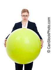 Funny businesswoman with exercise ball - Funny bloated...