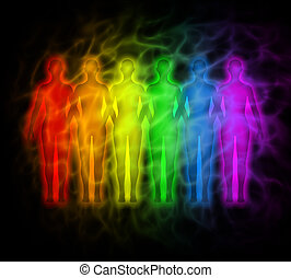 Rainbow people - rainbow silhouette - Picture of people with...