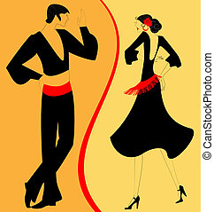 silhouette couple of flamenco dancer - on abstract...