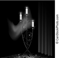 black chandelier and ghost - black-white room, big black...