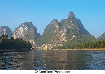 Li river near Yangshuo Guilin Mountains - Famous karst...