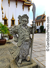 old chinese statue in the buddhist tample Thailand - old...