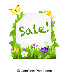 Sale Banner With Flowers And Leaves