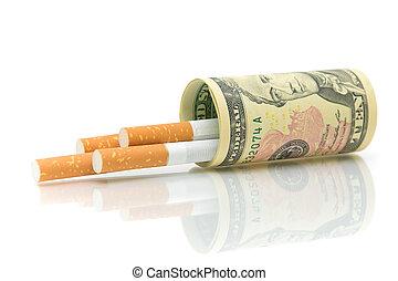 cigarrillos, dinero, primer plano