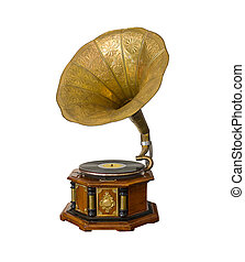 Vintage Gramophone isolated on white background
