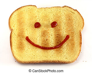 Bread with happy face - Single piece of toasted bread with a...