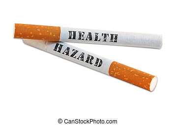 Smoking is a health hazard - Two cigarettes with health...