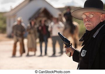 Outgunned Sheriff at Showdown - Outgunned sheriff in old...