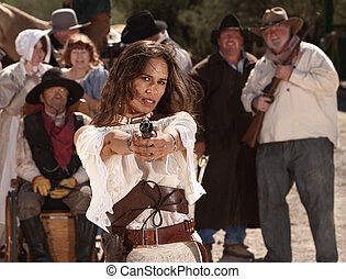 Mexican Female Gunfighter - Mexican woman in old west style...