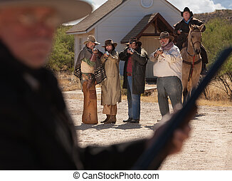 Six Old West Outlaws - Six old west gunfighters target a man...